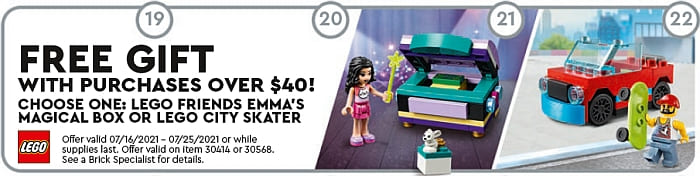 LEGO Store Calendar July 2021 Freebies